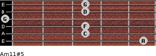 Am11#5 for guitar on frets 5, 3, 3, 0, 3, 3