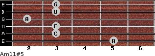 Am11#5 for guitar on frets 5, 3, 3, 2, 3, 3