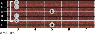 Am11#5 for guitar on frets 5, 3, 3, 5, 3, 3