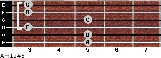 Am11#5 for guitar on frets 5, 5, 3, 5, 3, 3