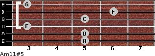 Am11#5 for guitar on frets 5, 5, 3, 5, 6, 3