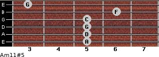 Am11#5 for guitar on frets 5, 5, 5, 5, 6, 3