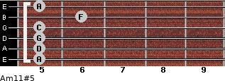 Am11#5 for guitar on frets 5, 5, 5, 5, 6, 5