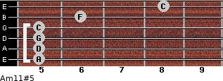 Am11#5 for guitar on frets 5, 5, 5, 5, 6, 8