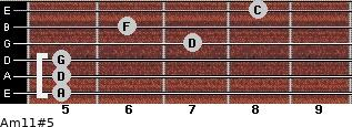 Am11#5 for guitar on frets 5, 5, 5, 7, 6, 8