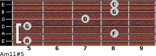 Am11#5 for guitar on frets 5, 8, 5, 7, 8, 8
