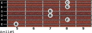 Am11#5 for guitar on frets 5, 8, 7, 7, 8, 8