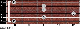 Am11#5/C for guitar on frets 8, 10, 12, 10, 10, 8
