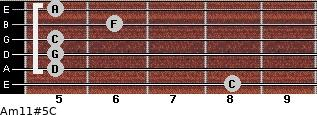 Am11#5/C for guitar on frets 8, 5, 5, 5, 6, 5