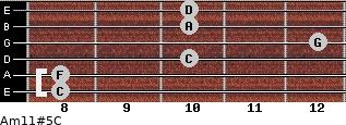 Am11#5/C for guitar on frets 8, 8, 10, 12, 10, 10