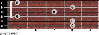Am11#5/C for guitar on frets 8, 8, 5, 7, 8, 5