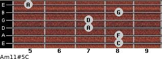 Am11#5/C for guitar on frets 8, 8, 7, 7, 8, 5