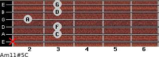 Am11#5/C for guitar on frets x, 3, 3, 2, 3, 3