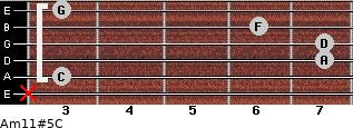 Am11#5/C for guitar on frets x, 3, 7, 7, 6, 3