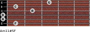 Am11#5/F for guitar on frets 1, 0, 0, 2, 1, 3