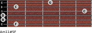 Am11#5/F for guitar on frets 1, 0, 0, 5, 1, 3