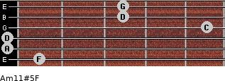 Am11#5/F for guitar on frets 1, 0, 0, 5, 3, 3