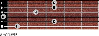 Am11#5/F for guitar on frets 1, 3, 0, 2, 3, 3