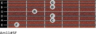 Am11#5/F for guitar on frets 1, 3, 3, 2, 3, 3
