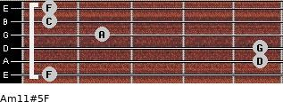Am11#5/F for guitar on frets 1, 5, 5, 2, 1, 1