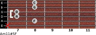 Am11#5/F for guitar on frets x, 8, 7, 7, 8, 8