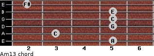 Am13 for guitar on frets 5, 3, 5, 5, 5, 2