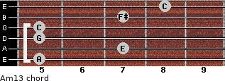 Am13 for guitar on frets 5, 7, 5, 5, 7, 8