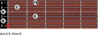 Am13 for guitar on frets x, 0, 2, 0, 1, 2