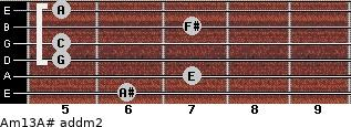 Am13/A# add(m2) guitar chord
