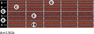 Am13/Gb for guitar on frets 2, 0, 2, 0, 1, 3