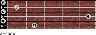 Am13/Gb for guitar on frets 2, 0, 5, 0, 1, 0