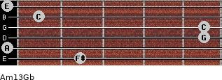 Am13/Gb for guitar on frets 2, 0, 5, 5, 1, 0
