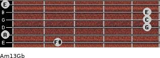 Am13/Gb for guitar on frets 2, 0, 5, 5, 5, 0