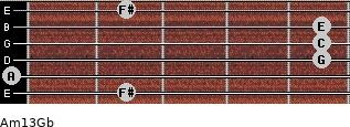 Am13/Gb for guitar on frets 2, 0, 5, 5, 5, 2