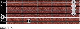 Am13/Gb for guitar on frets 2, 0, 5, 5, 5, 5