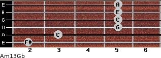 Am13/Gb for guitar on frets 2, 3, 5, 5, 5, 5