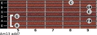 Am13 add(7) guitar chord