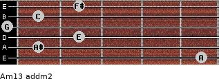 Am13 add(m2) for guitar on frets 5, 1, 2, 0, 1, 2