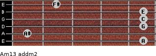 Am13 add(m2) for guitar on frets 5, 1, 5, 5, 5, 2
