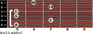 Am13 add(m2) for guitar on frets 5, 7, 5, 5, 7, 6