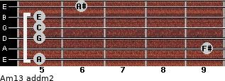Am13 add(m2) for guitar on frets 5, 9, 5, 5, 5, 6