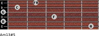 Am13#5 for guitar on frets 5, 0, 3, 0, 1, 2