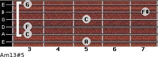Am13#5 for guitar on frets 5, 3, 3, 5, 7, 3