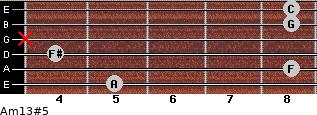 Am13#5 for guitar on frets 5, 8, 4, x, 8, 8