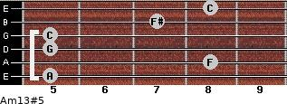 Am13#5 for guitar on frets 5, 8, 5, 5, 7, 8