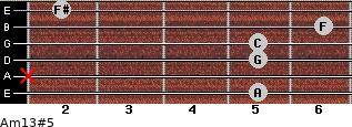 Am13#5 for guitar on frets 5, x, 5, 5, 6, 2