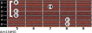 Am13#5/C for guitar on frets 8, 8, 5, 5, 7, 5