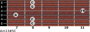 Am13#5/C for guitar on frets 8, 8, 7, 11, 8, 8