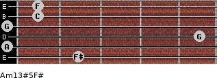 Am13#5/F# for guitar on frets 2, 0, 5, 0, 1, 1