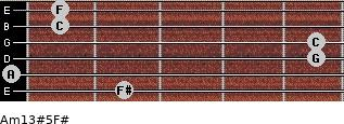 Am13#5/F# for guitar on frets 2, 0, 5, 5, 1, 1